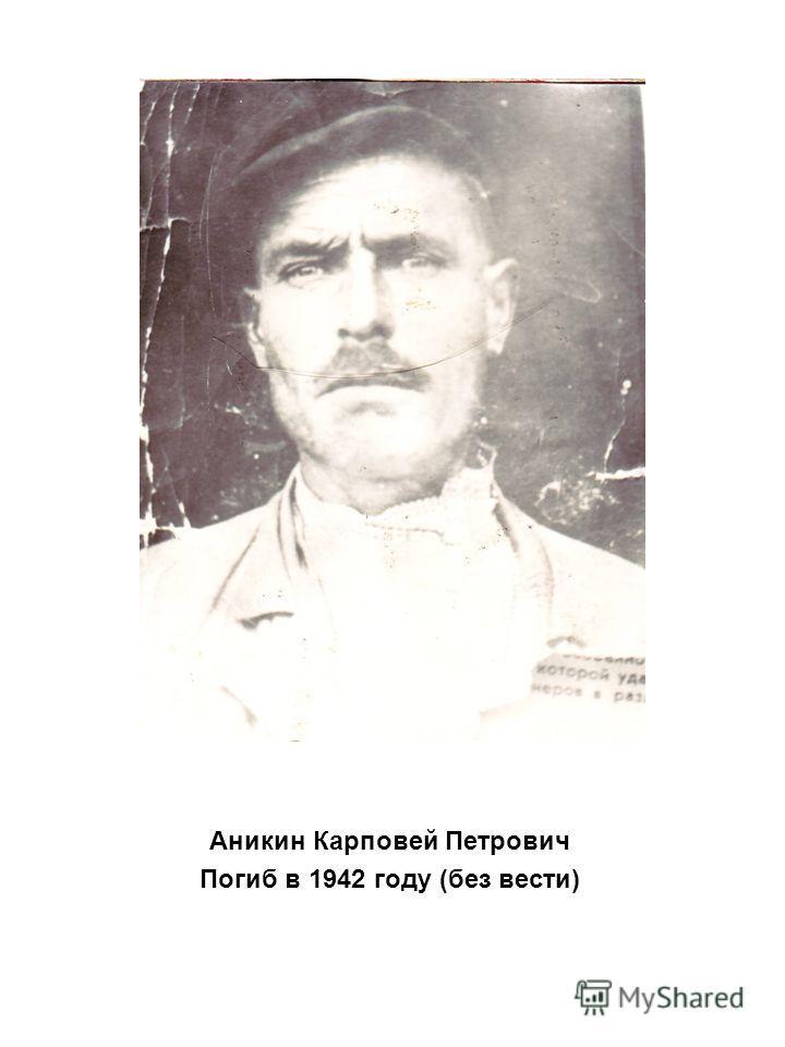 Аникин Карповей Петрович Погиб в 1942 году (без вести)