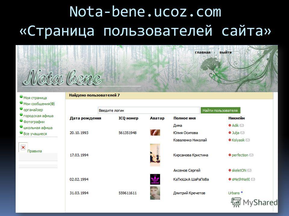 Nota-bene.ucoz.com «Страница пользователей сайта»