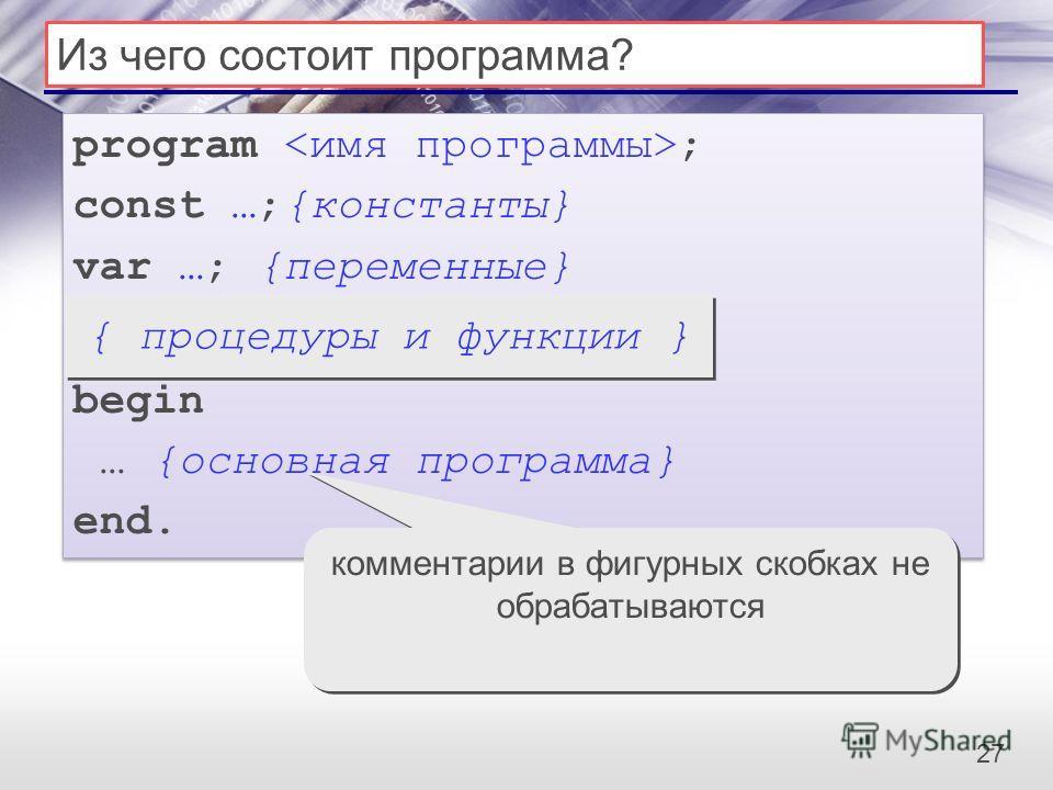 27 Из чего состоит программа? program ; const …;{константы} var …; {переменные} begin … {основная программа} end. program ; const …;{константы} var …; {переменные} begin … {основная программа} end. { процедуры и функции } комментарии в фигурных скобк