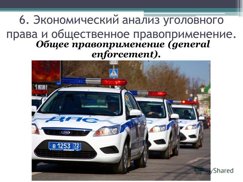 6. Экономический анализ уголовного права и общественное правоприменение. Общее правоприменение (general enforcement).