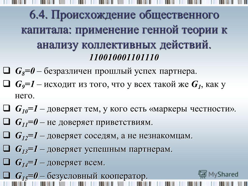 110010001101110 G 8 =0 – безразличен прошлый успех партнера. G 8 =0 – безразличен прошлый успех партнера. G 9 =1 – исходит из того, что у всех такой же G 1, как у него. G 9 =1 – исходит из того, что у всех такой же G 1, как у него. G 10 =1 – доверяет
