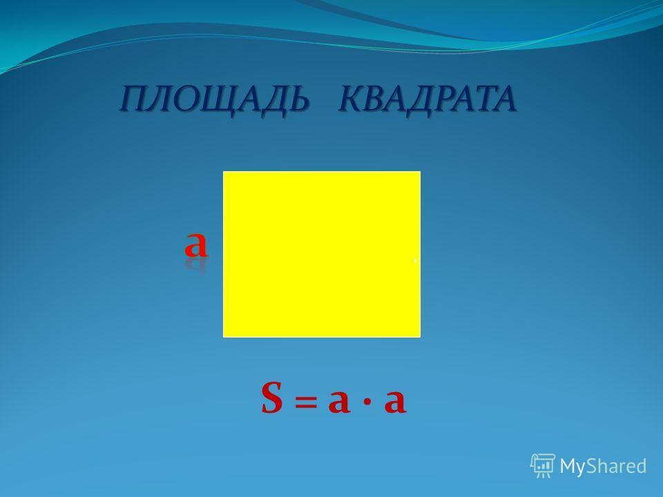 ПЛОЩАДЬ КВАДРАТА. S = a a