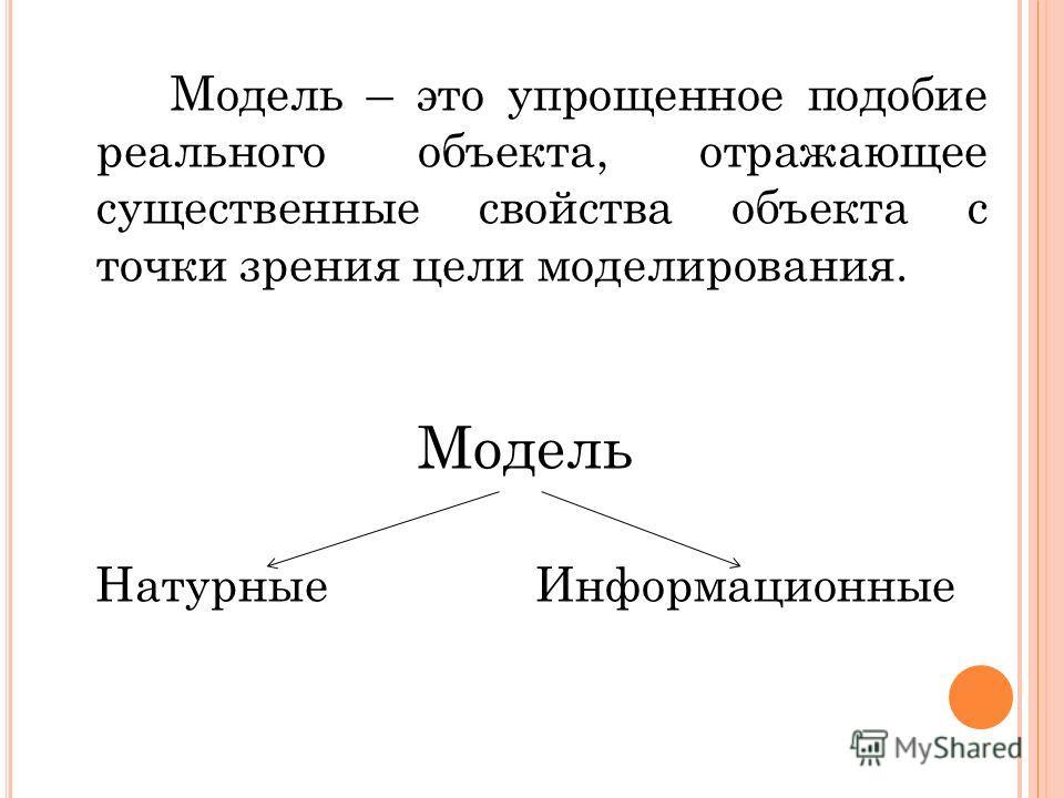 Модель – это упрощенное подобие реального объекта, отражающее существенные свойства объекта с точки зрения цели моделирования. Модель Натурные Информационные