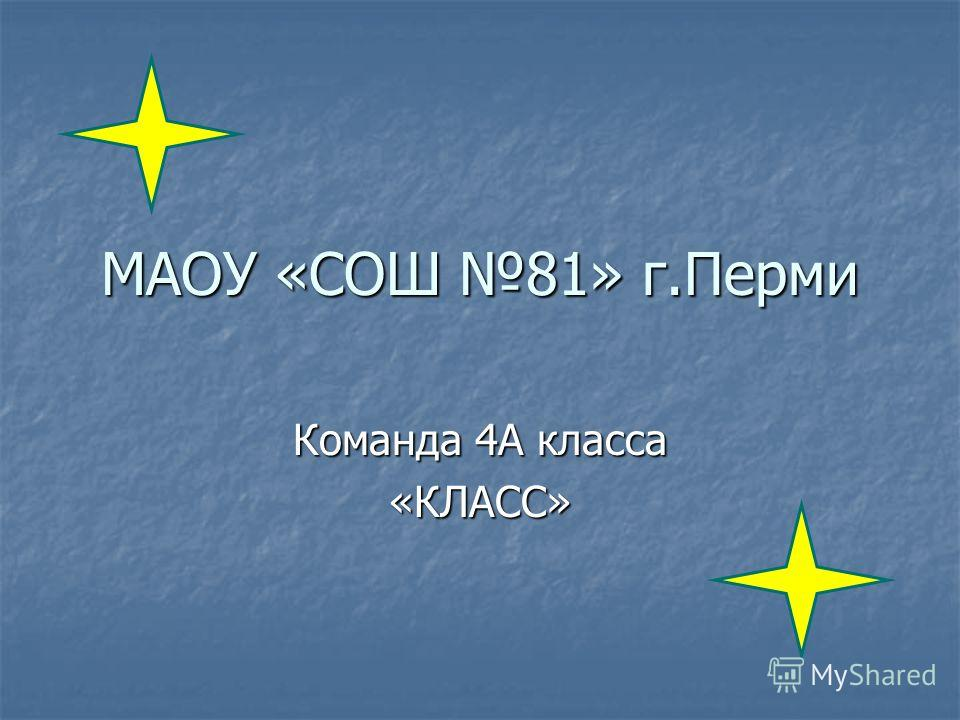 МАОУ «СОШ 81» г.Перми Команда 4А класса «КЛАСС»