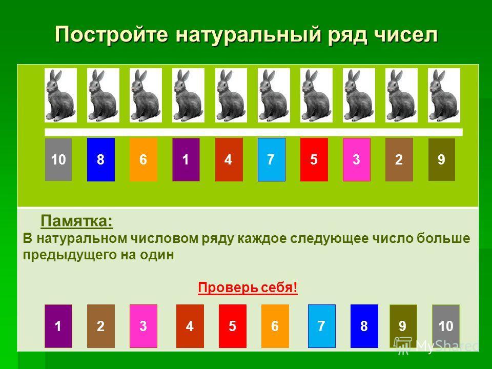 Постройте натуральный ряд чисел Памятка: В натуральном числовом ряду каждое следующее число больше предыдущего на один Проверь себя! 10861475329 123456789