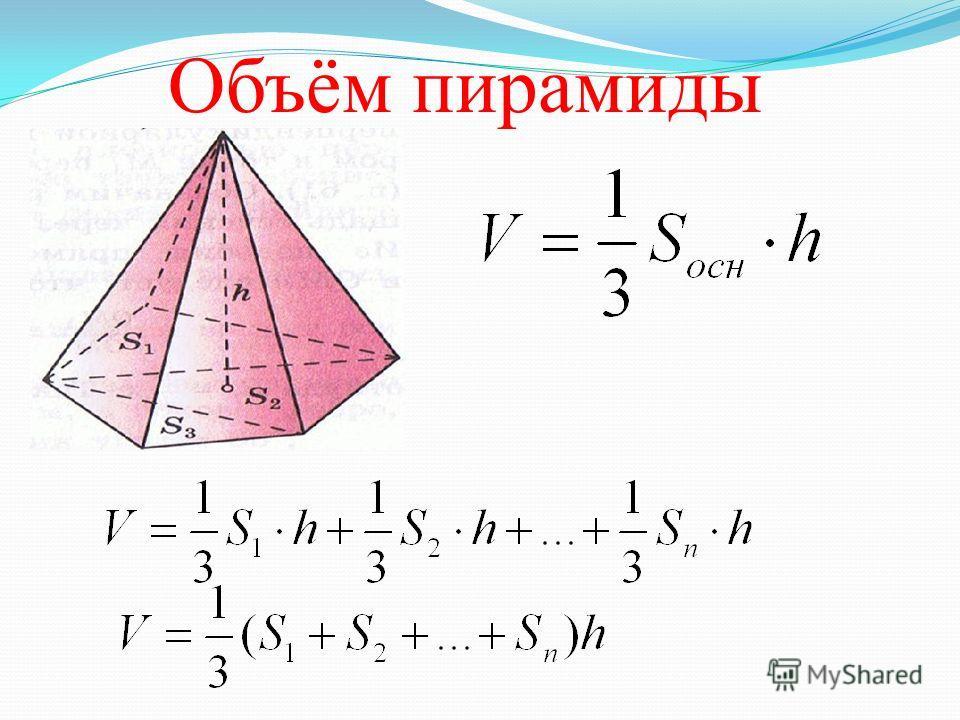 Основная формула для вычисления объемов