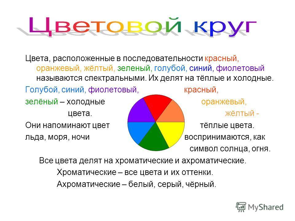 Цвета, расположенные в последовательности красный, оранжевый, жёлтый, зеленый, голубой, синий, фиолетовый называются спектральными. Их делят на тёплые и холодные. Голубой, синий, фиолетовый, красный, зелёный – холодные оранжевый, цвета. жёлтый - Они