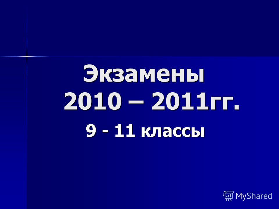 Экзамены 2010 – 2011гг. Экзамены 2010 – 2011гг. 9 - 11 классы 9 - 11 классы