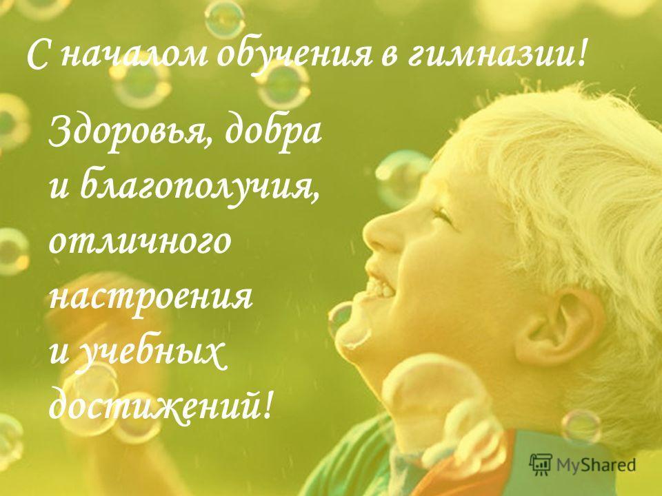 С началом обучения в гимназии! Здоровья, добра и благополучия, отличного настроения и учебных достижений!