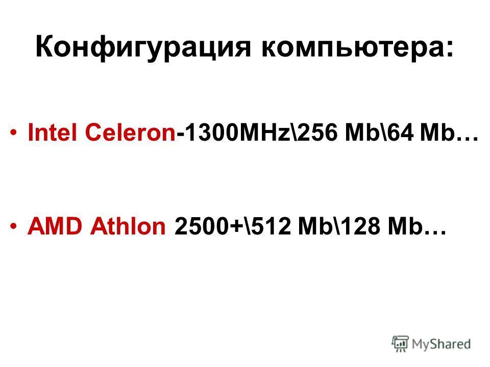 Конфигурация компьютера: Intel Celeron-1300MHz\256 Mb\64 Mb… AMD Athlon 2500+\512 Mb\128 Mb…