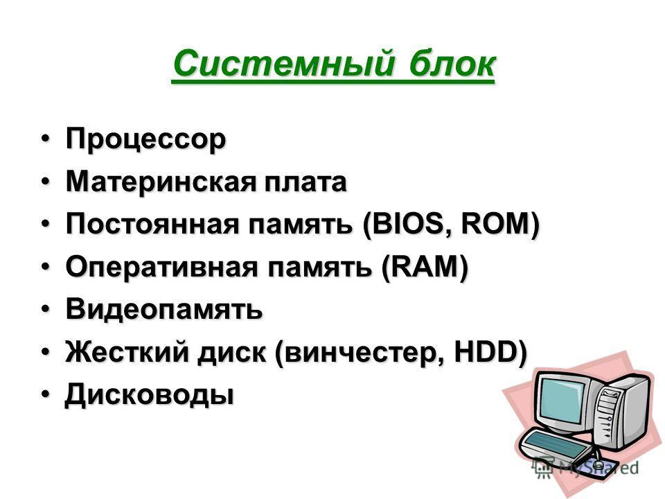 Системный блок ПроцессорПроцессор Материнская платаМатеринская плата Постоянная память (BIOS, ROM)Постоянная память (BIOS, ROM) Оперативная память (RAM)Оперативная память (RAM) ВидеопамятьВидеопамять Жесткий диск (винчестер, HDD)Жесткий диск (винчест