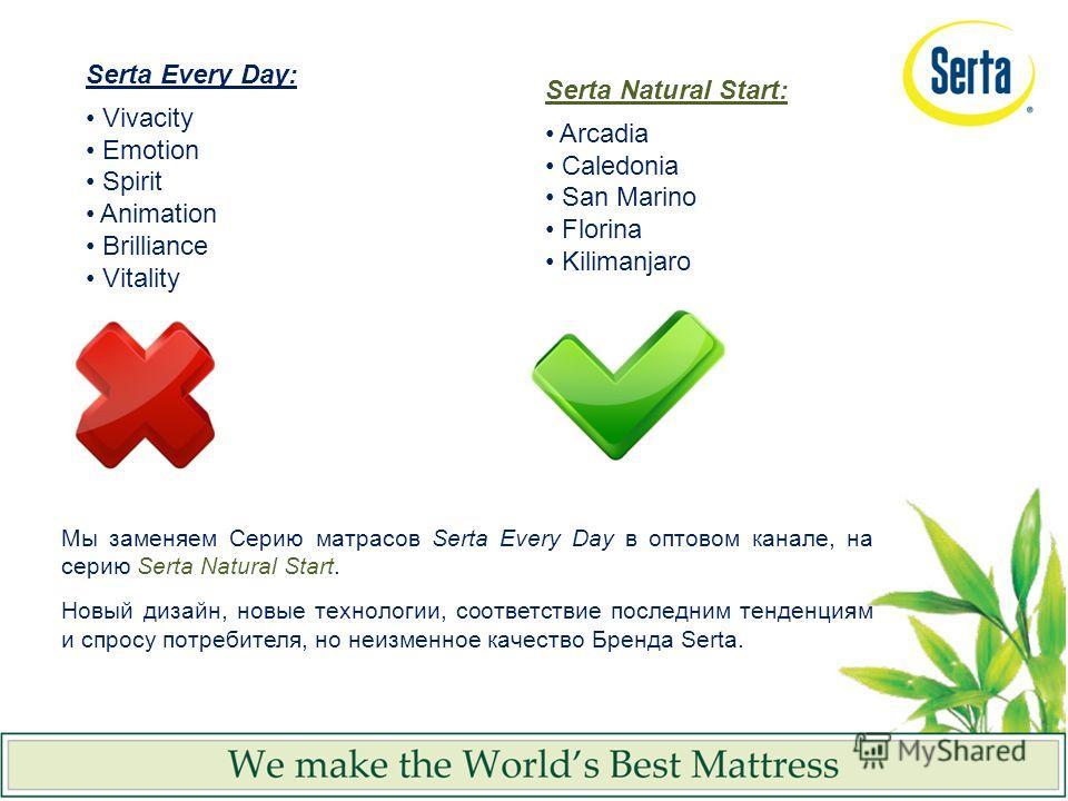 Serta Every Day: Vivacity Emotion Spirit Animation Brilliance Vitality Serta Natural Start: Arcadia Caledonia San Marino Florina Kilimanjaro Мы заменяем Серию матрасов Serta Every Day в оптовом канале, на серию Serta Natural Start. Новый дизайн, новы