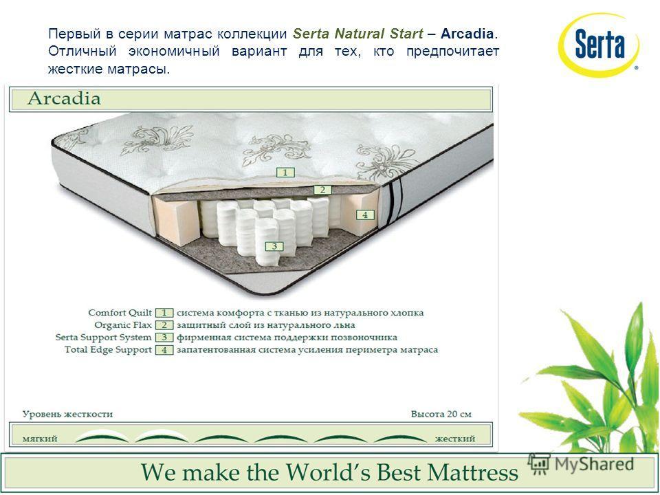 Первый в серии матрас коллекции Serta Natural Start – Arcadia. Отличный экономичный вариант для тех, кто предпочитает жесткие матрасы.