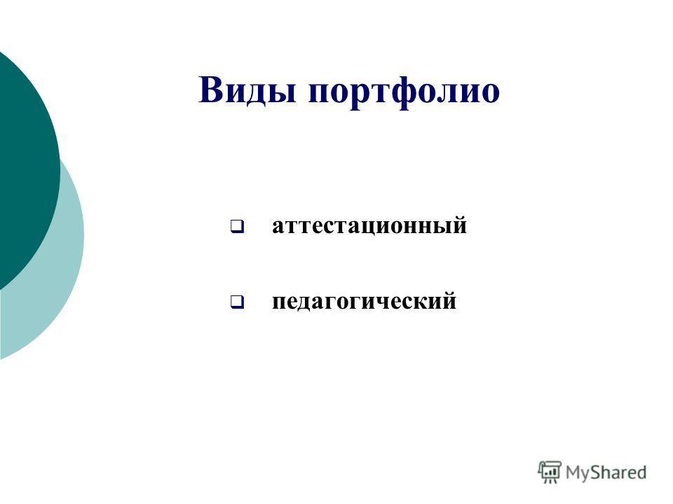 аттестационный педагогический Виды портфолио