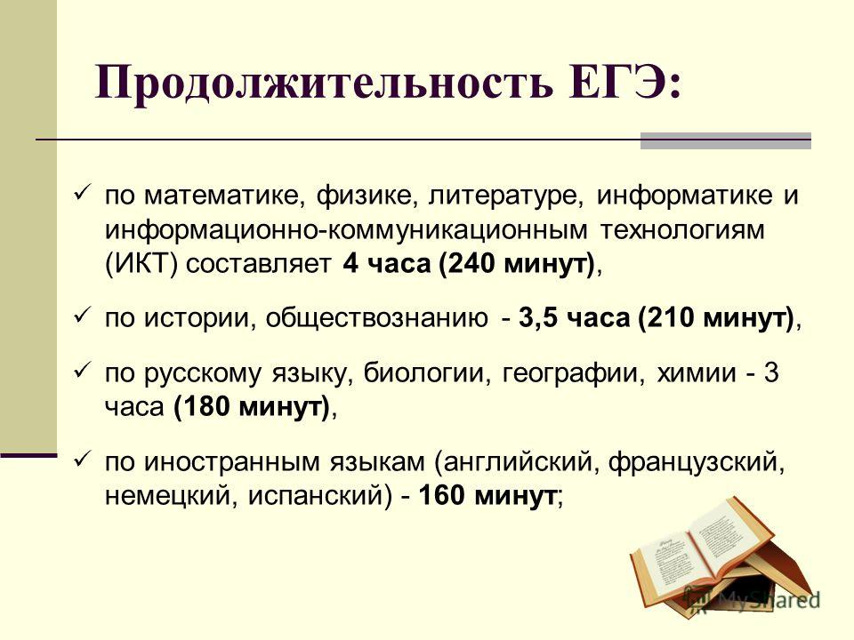 Продолжительность ЕГЭ: по математике, физике, литературе, информатике и информационно-коммуникационным технологиям (ИКТ) составляет 4 часа (240 минут), по истории, обществознанию - 3,5 часа (210 минут), по русскому языку, биологии, географии, химии -