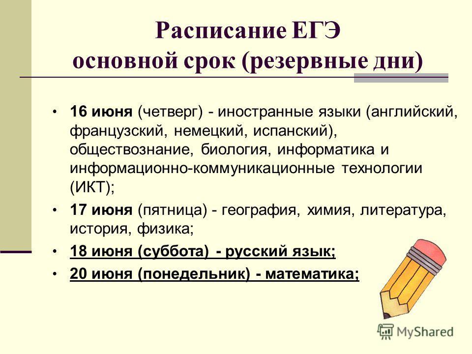 Расписание ЕГЭ основной срок (резервные дни) 16 июня (четверг) - иностранные языки (английский, французский, немецкий, испанский), обществознание, биология, информатика и информационно-коммуникационные технологии (ИКТ); 17 июня (пятница) - география,