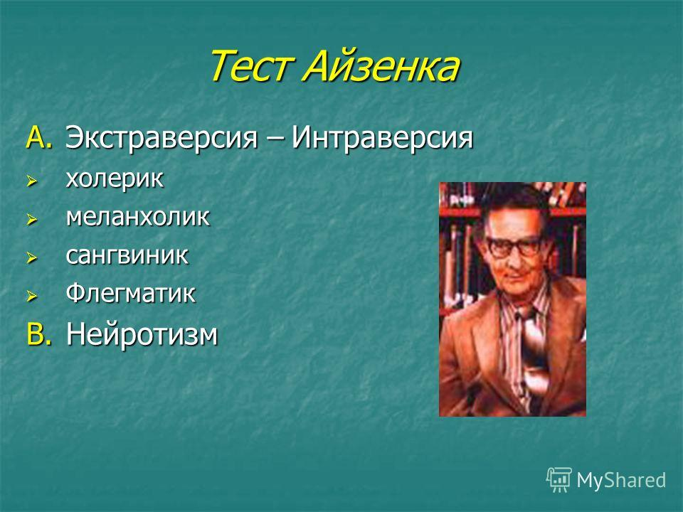 Тест Айзенка A.Экстраверсия – Интраверсия холерик холерик меланхолик меланхолик сангвиник сангвиник Флегматик Флегматик B.Нейротизм