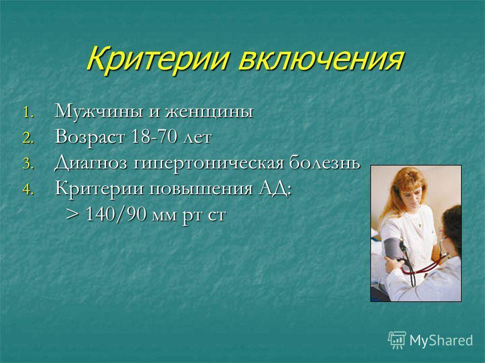 Критерии включения 1. Мужчины и женщины 2. Возраст 18-70 лет 3. Диагноз гипертоническая болезнь 4. Критерии повышения АД: > 140/90 мм рт ст > 140/90 мм рт ст