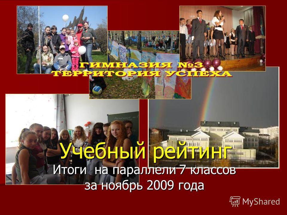февраль Учебный рейтинг Итоги на параллели 7 классов за ноябрь 2009 года