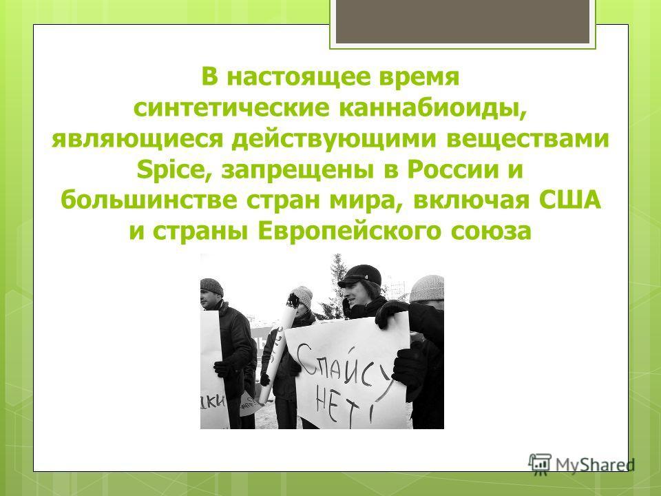 В настоящее время синтетические каннабиоиды, являющиеся действующими веществами Spice, запрещены в России и большинстве стран мира, включая США и страны Европейского союза