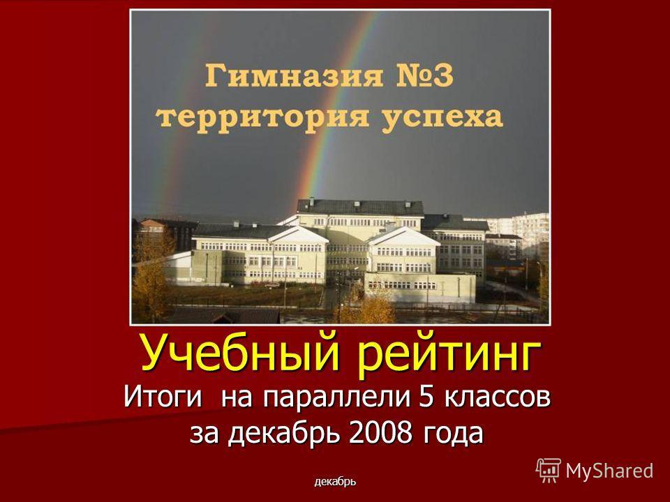 декабрь Учебный рейтинг Итоги на параллели 5 классов за декабрь 2008 года