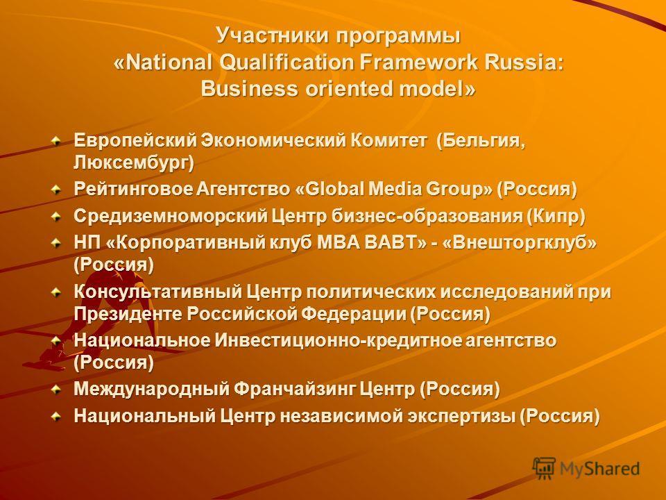 Участники программы «National Qualification Framework Russia: Business oriented model» Европейский Экономический Комитет (Бельгия, Люксембург) Рейтинговое Агентство «Global Media Group» (Россия) Средиземноморский Центр бизнес-образования (Кипр) НП «К