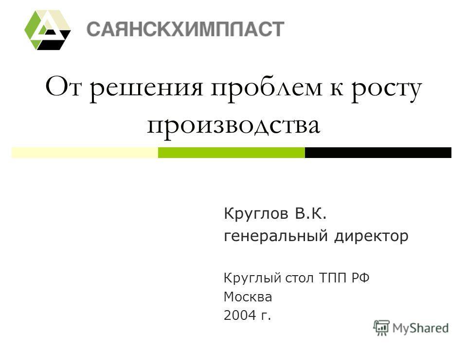 От решения проблем к росту производства Круглов В.К. генеральный директор Круглый стол ТПП РФ Москва 2004 г.