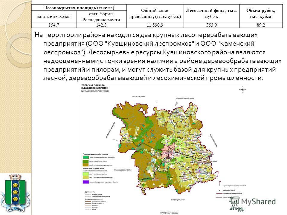 На территории района находится два крупных лесоперерабатывающих предприятия ( ООО
