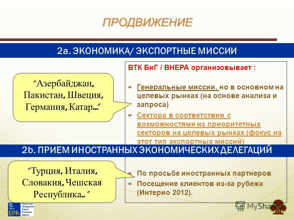 ПРОДВИЖЕНИЕ ВТК БиГ / BHEPA организовывает : Генеральные миссии, но в основном на целевых рынках (на основе анализа и запроса) Сектора в соответствии с возможностями из приоритетных секторов на целевых рынках (фокус на этот тип экспортных миссий) По