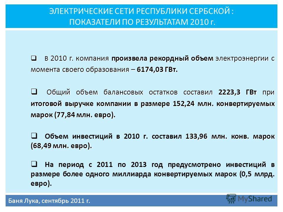 ЭЛЕКТРИЧЕСКИЕ СЕТИ РЕСПУБЛИКИ СЕРБСКОЙ : ПОКАЗАТЕЛИ ПО РЕЗУЛЬТАТАМ 2010 г. В 2010 г. компания произвела рекордный объем электроэнергии с момента своего образования – 6174,03 ГВт. В 2010 г. компания произвела рекордный объем электроэнергии с момента с