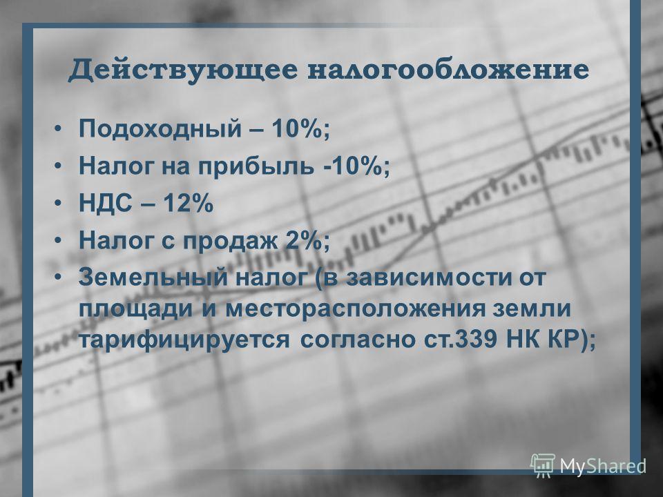 Действующее налогообложение Подоходный – 10%; Налог на прибыль -10%; НДС – 12% Налог с продаж 2%; Земельный налог (в зависимости от площади и месторасположения земли тарифицируется согласно ст.339 НК КР);