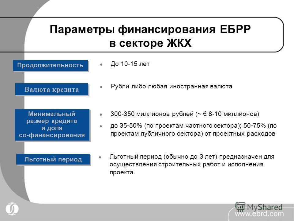 Параметры финансирования ЕБРР в секторе ЖКХ До 10-15 лет Продолжительность Рубли либо любая иностранная валюта Льготный период (обычно до 3 лет) предназначен для осуществления строительных работ и исполнения проекта. Валюта кредита Минимальный размер