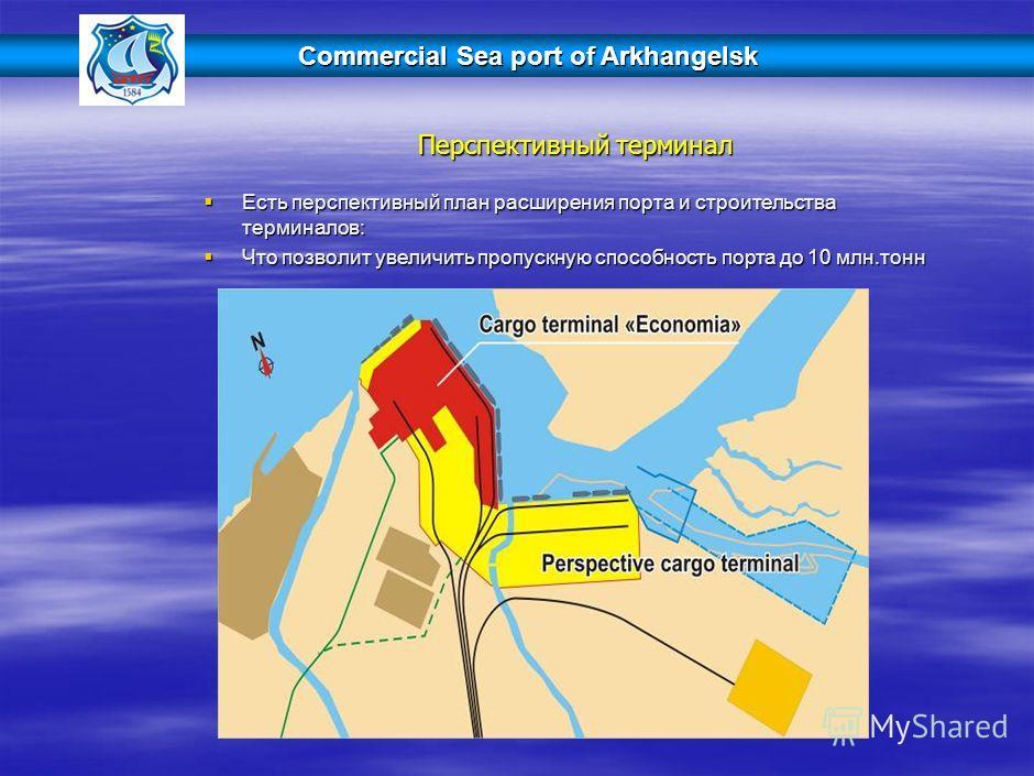Commercial Sea port of Arkhangelsk Перспективный терминал Есть перспективный план расширения порта и строительства терминалов: Есть перспективный план расширения порта и строительства терминалов: Что позволит увеличить пропускную способность порта до