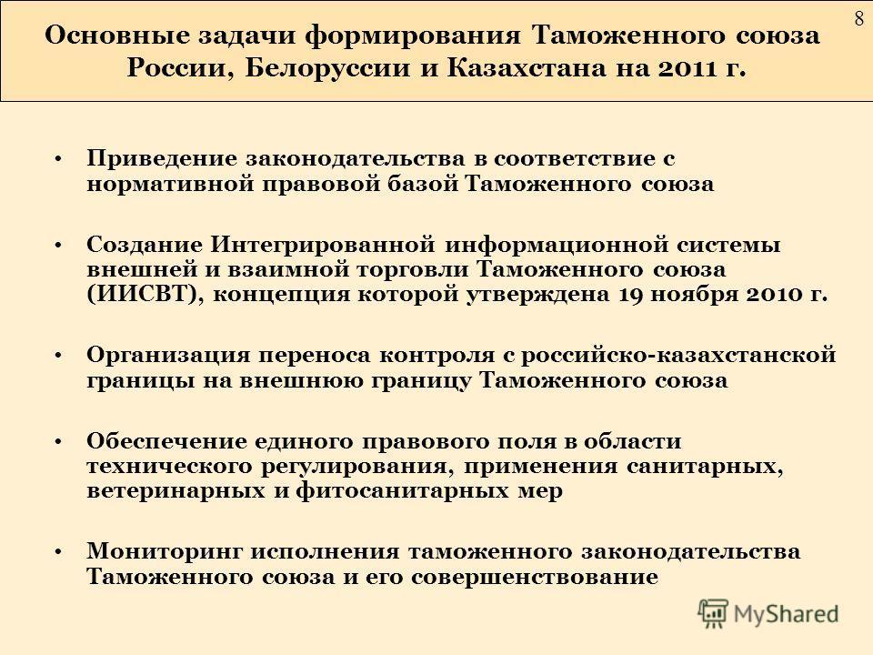 Основные задачи формирования Таможенного союза России, Белоруссии и Казахстана на 2011 г. 8 Приведение законодательства в соответствие с нормативной правовой базой Таможенного союза Создание Интегрированной информационной системы внешней и взаимной т