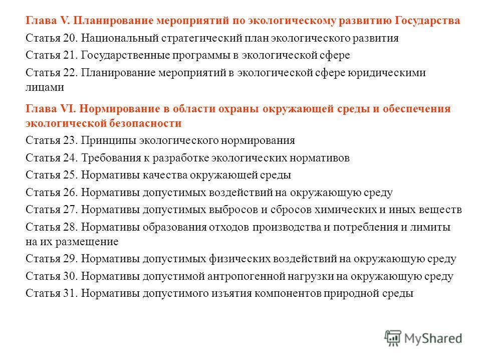 Глава V. Планирование мероприятий по экологическому развитию Государства Статья 20. Национальный стратегический план экологического развития Статья 21. Государственные программы в экологической сфере Статья 22. Планирование мероприятий в экологическо