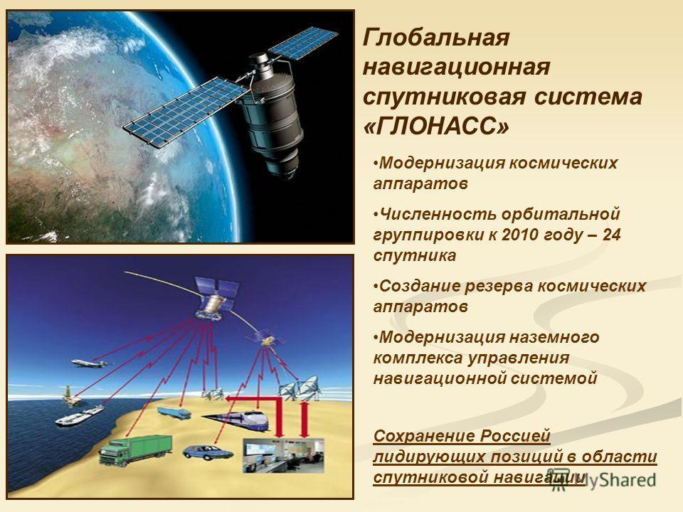Глобальная навигационная спутниковая система «ГЛОНАСС» Модернизация космических аппаратов Численность орбитальной группировки к 2010 году – 24 спутника Создание резерва космических аппаратов Модернизация наземного комплекса управления навигационной с