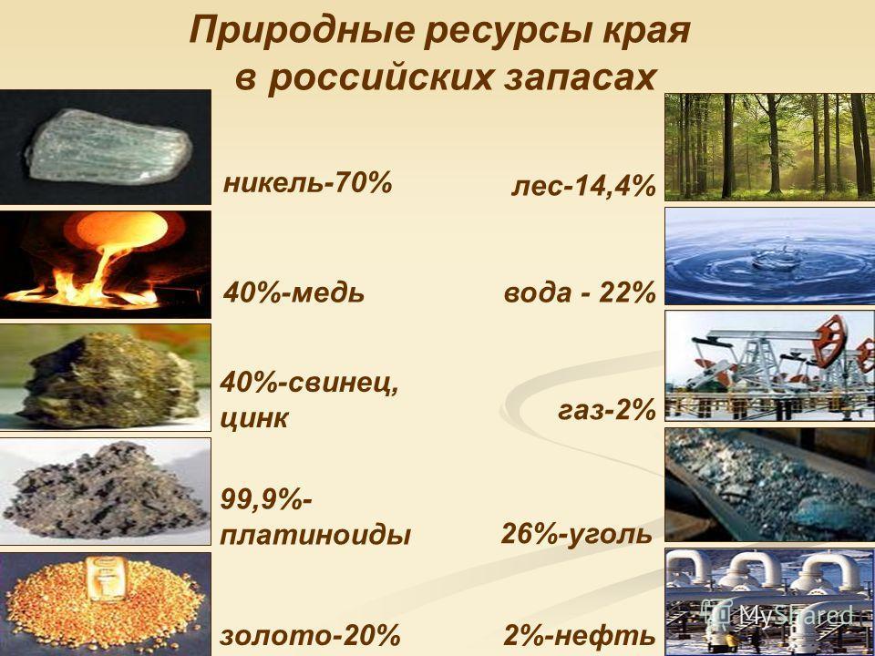 никель-70% газ-2% лес-14,4% вода - 22% золото-20%2%-нефть 40%-свинец, цинк 26%-уголь 99,9%- платиноиды 40%-медь Природные ресурсы края в российских запасах