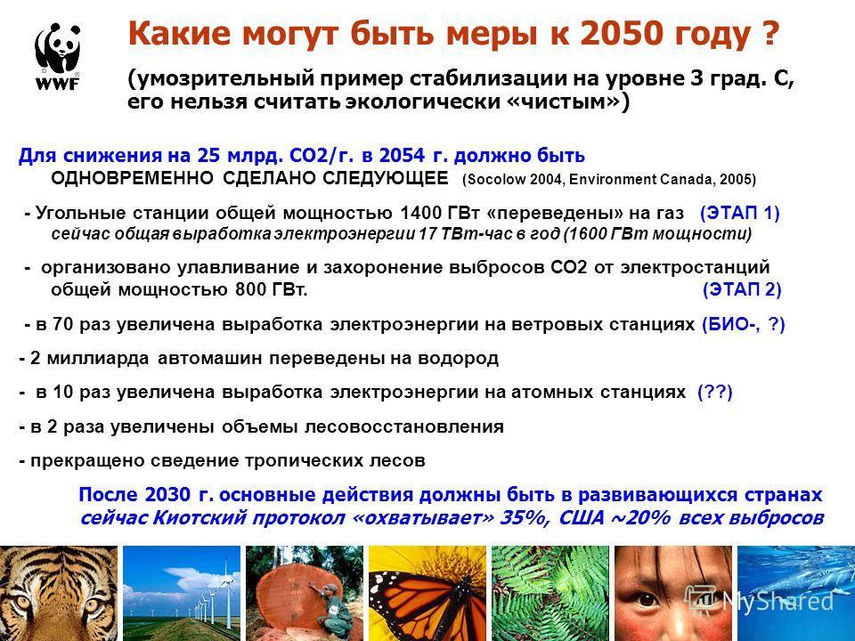 Какие могут быть меры к 2050 году ? (умозрительный пример стабилизации на уровне 3 град. С, его нельзя считать экологически «чистым») Для снижения на 25 млрд. СО2/г. в 2054 г. должно быть ОДНОВРЕМЕННО СДЕЛАНО СЛЕДУЮЩЕЕ (Socolow 2004, Environment Cana