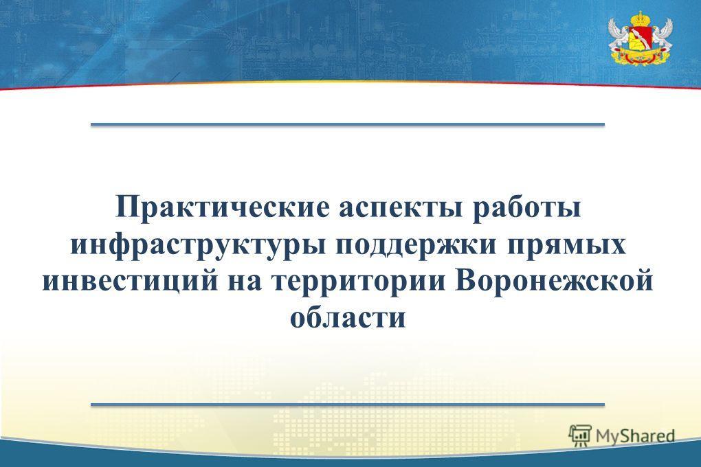 Практические аспекты работы инфраструктуры поддержки прямых инвестиций на территории Воронежской области