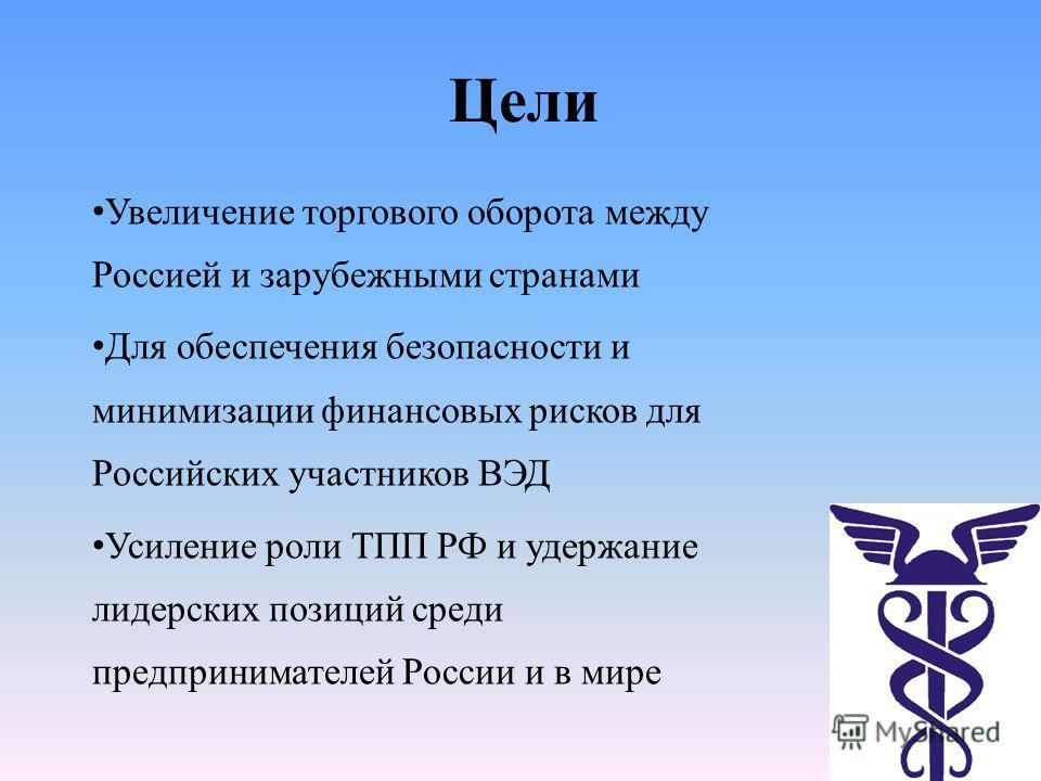 Цели Увеличение торгового оборота между Россией и зарубежными странами Для обеспечения безопасности и минимизации финансовых рисков для Российских участников ВЭД Усиление роли ТПП РФ и удержание лидерских позиций среди предпринимателей России и в мир