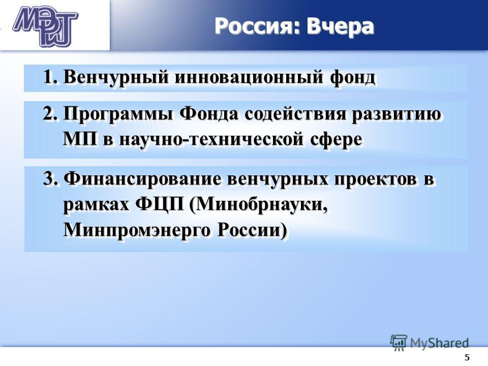5 Россия: Вчера 1. Венчурный инновационный фонд 2. Программы Фонда содействия развитию МП в научно-технической сфере 3. Финансирование венчурных проектов в рамках ФЦП (Минобрнауки, Минпромэнерго России)