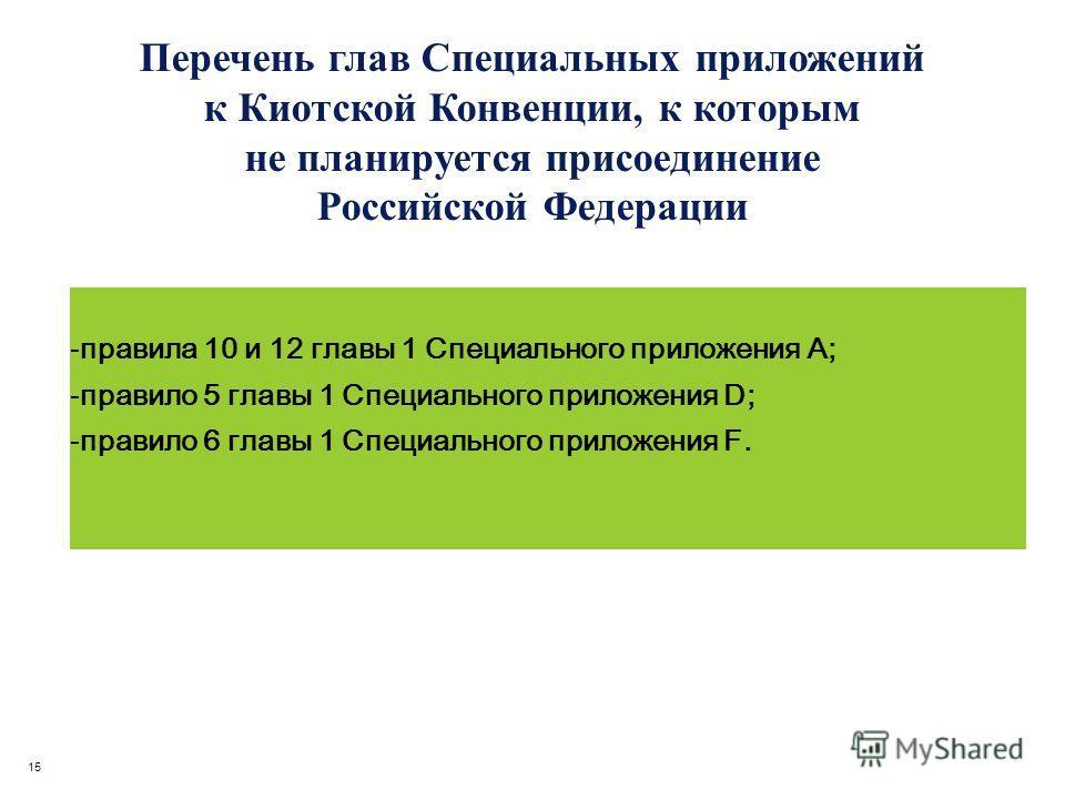 15 Перечень глав Специальных приложений к Киотской Конвенции, к которым не планируется присоединение Российской Федерации -правила 10 и 12 главы 1 Специального приложения А; -правило 5 главы 1 Специального приложения D; -правило 6 главы 1 Специальног