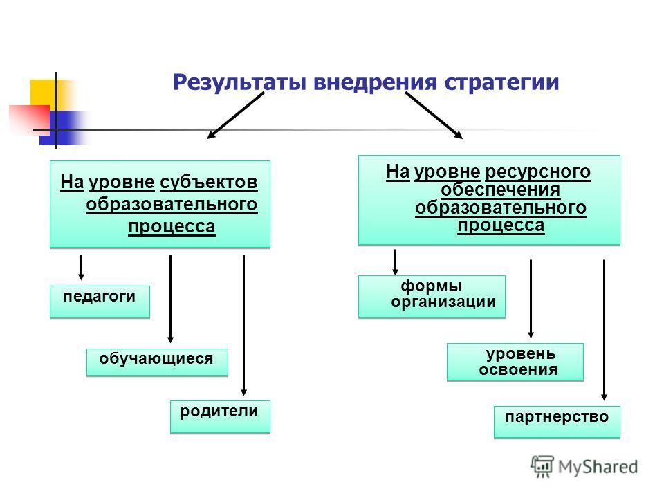 Результаты внедрения стратегии На уровне субъектов образовательного процесса На уровне субъектов образовательного процесса На уровне ресурсного обеспечения образовательного процесса На уровне ресурсного обеспечения образовательного процесса обучающие
