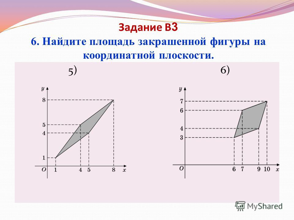 Задание В 3 6. Найдите площадь закрашенной фигуры на координатной плоскости. 5) 6)