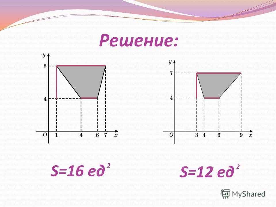 Решение: S=16 ед S=12 ед 2 2 2