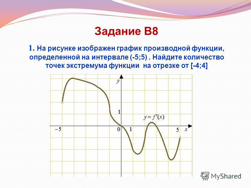Задание В8 1. На рисунке изображен график производной функции, определенной на интервале (-5;5). Найдите количество точек экстремума функции на отрезке от [-4;4]