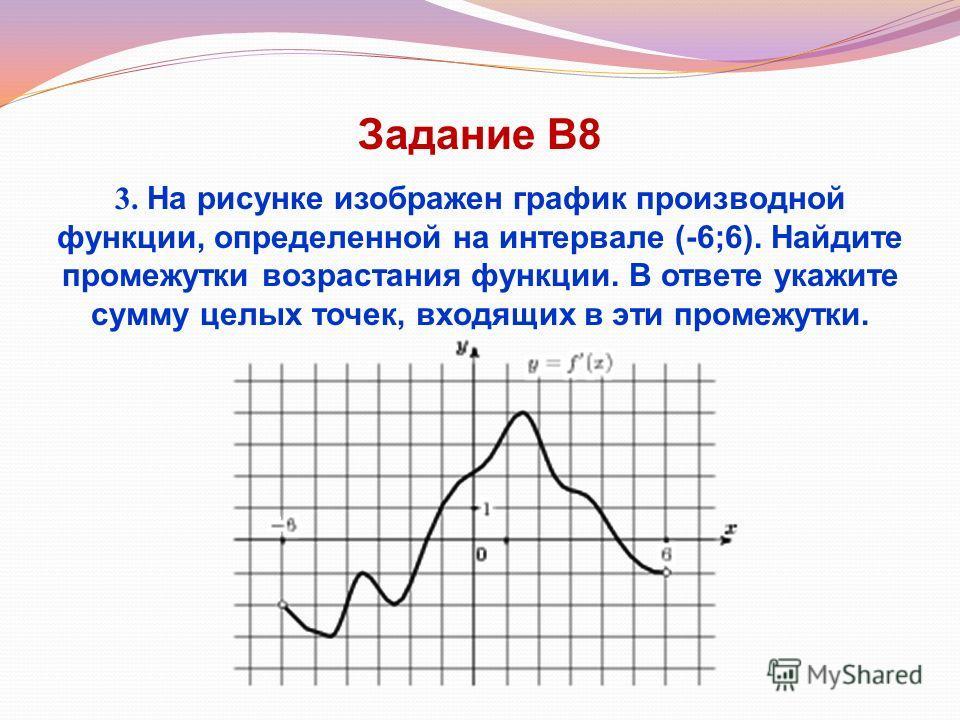Задание В8 3. На рисунке изображен график производной функции, определенной на интервале (-6;6). Найдите промежутки возрастания функции. В ответе укажите сумму целых точек, входящих в эти промежутки.