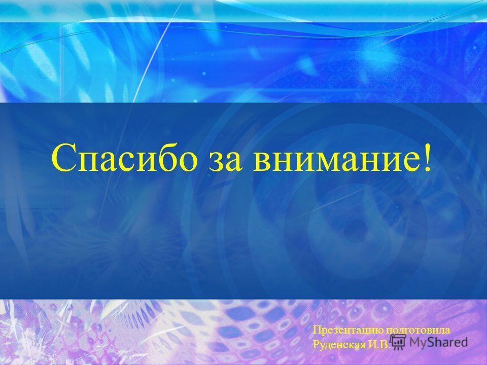 Спасибо за внимание! Презентацию подготовила Руденская И.В.