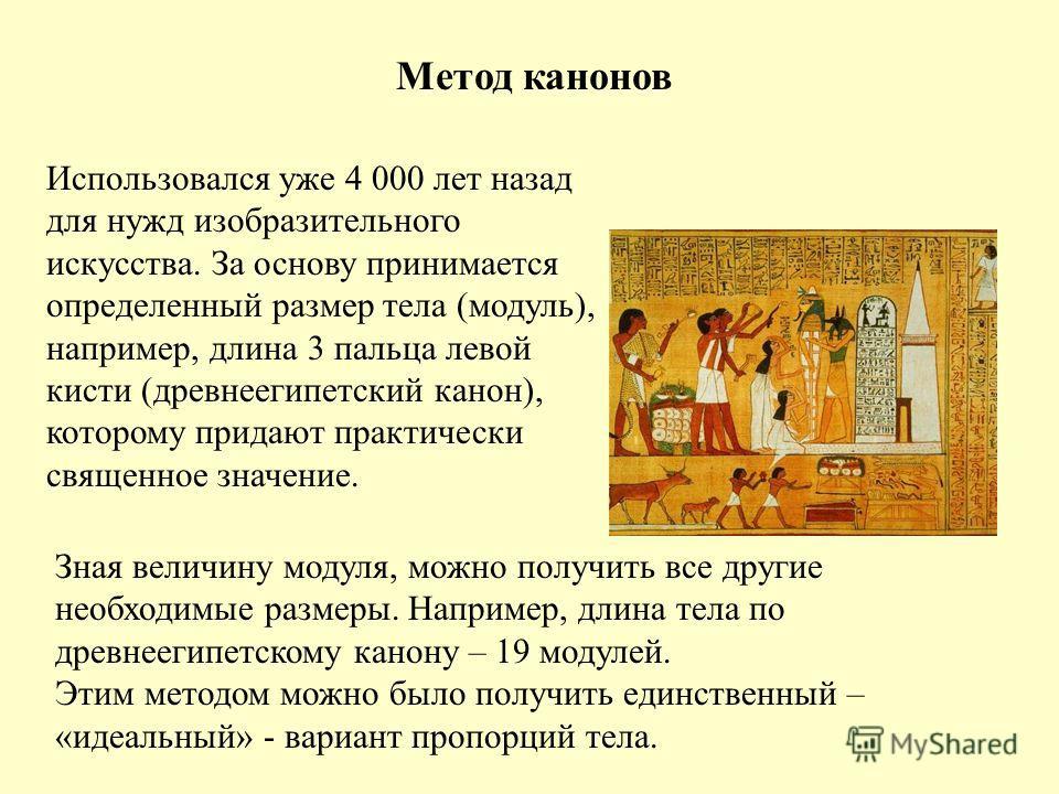 Метод канонов Использовался уже 4 000 лет назад для нужд изобразительного искусства. За основу принимается определенный размер тела (модуль), например, длина 3 пальца левой кисти (древнеегипетский канон), которому придают практически священное значен