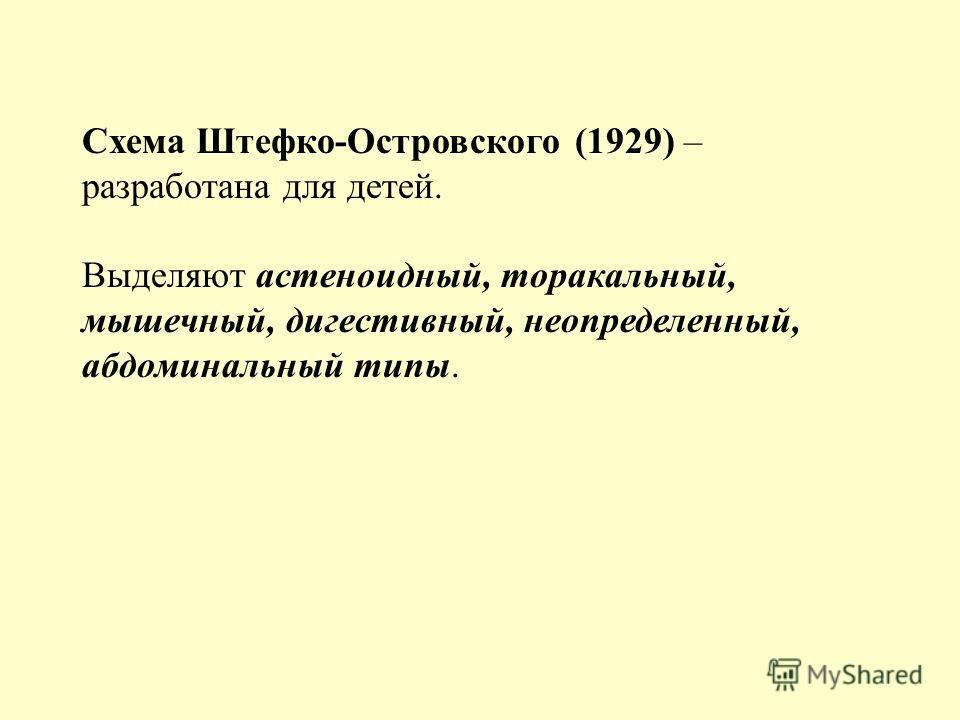 Схема Штефко-Островского (1929) – разработана для детей. Выделяют астеноидный, торакальный, мышечный, дигестивный, неопределенный, абдоминальный типы.